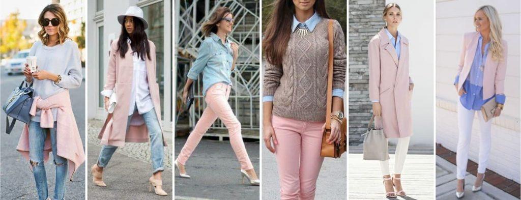 Couleur vêtement bleu et rose pastel