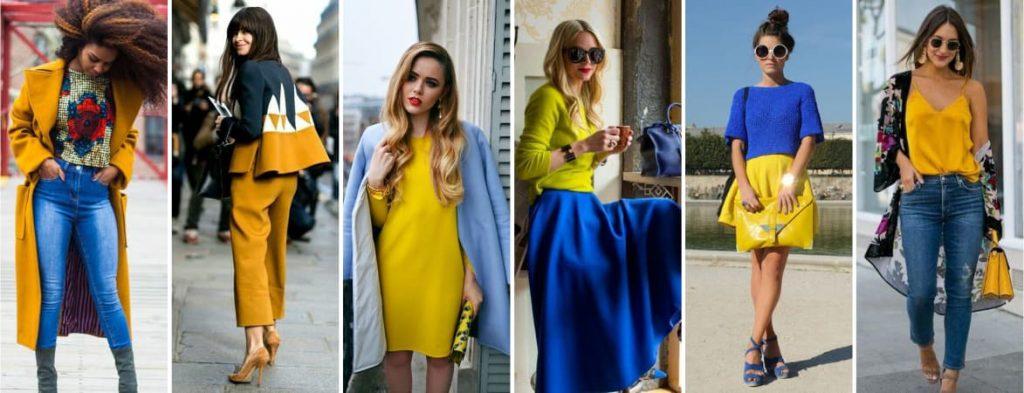 Couleur vêtement jaune et bleu