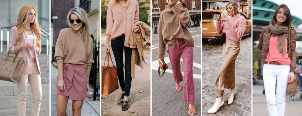 Couleur vêtement beige et rose