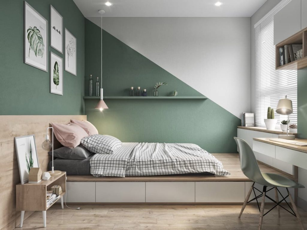 Disposition couleur chambre triangle