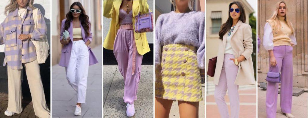 Couleur vêtement violet et jaune